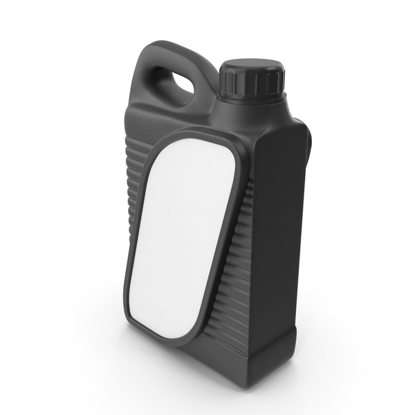 Fuel Can: Black Plastic Jerrycan with Black Cap and Logo PNG & PSD Images