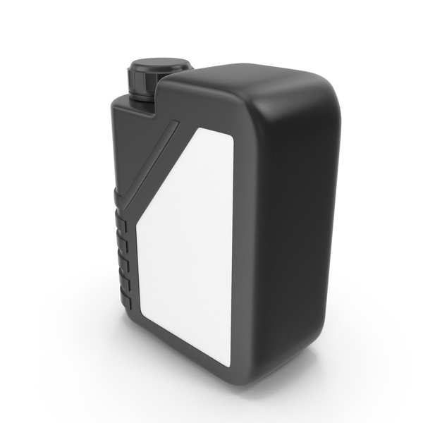 Black Plastic Jerrycan with Black Cap and Logo PNG & PSD Images