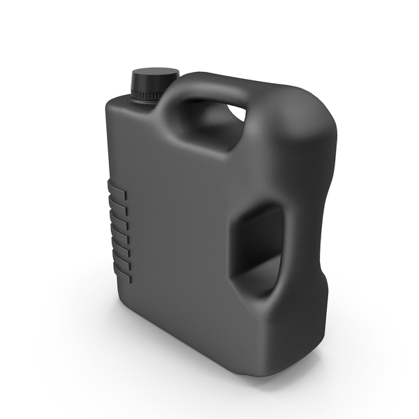 Fuel Can: Black Plastic Jerrycan with Black Cap PNG & PSD Images