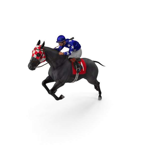 Black Racing Horse with Jokey Jumping PNG & PSD Images