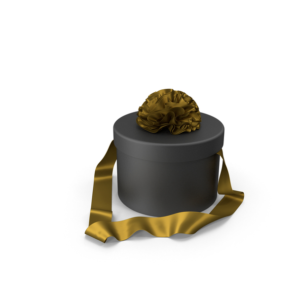 Black Round Gift Box with Gold Silk Ribbon PNG & PSD Images