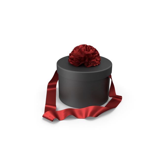 Black Round Gift Box with Red Silk Ribbon PNG & PSD Images