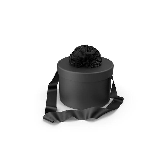 Black Round Gift Box with Silk Ribbon PNG & PSD Images