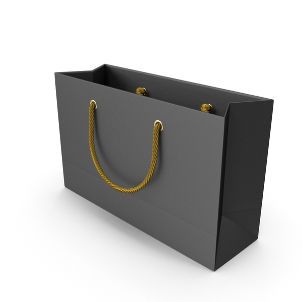 Gift: Black Shopping Bag with Gold Handles PNG & PSD Images