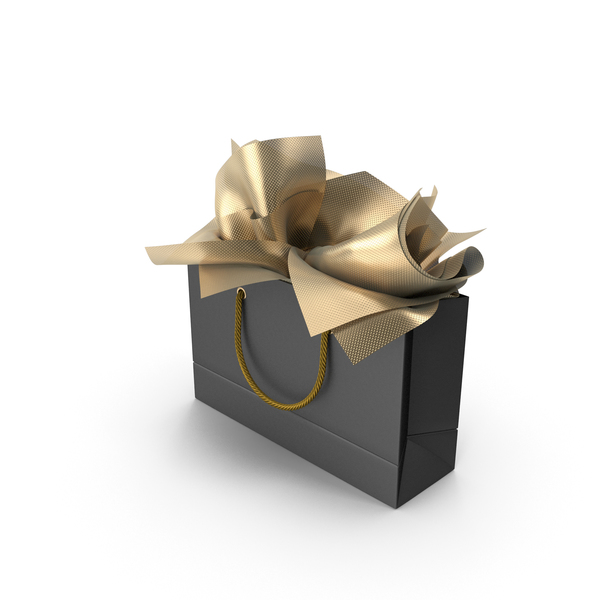 Gift: Black Shopping Bag with Gold Paper PNG & PSD Images