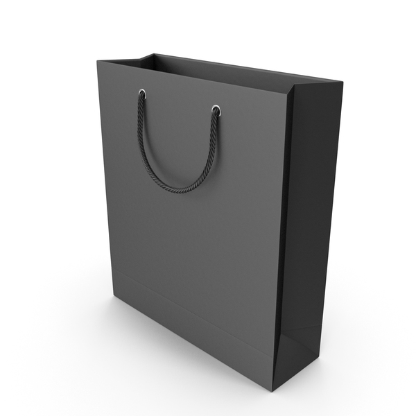 Gift: Black Shopping Bag with Black Handles PNG & PSD Images
