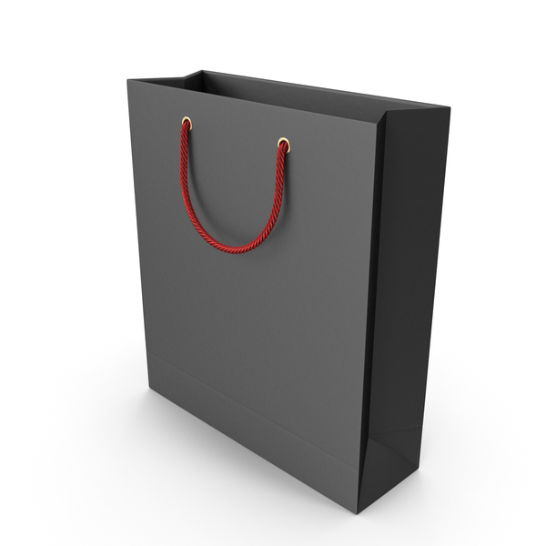 Gift: Black Shopping Bag with Red Handles PNG & PSD Images