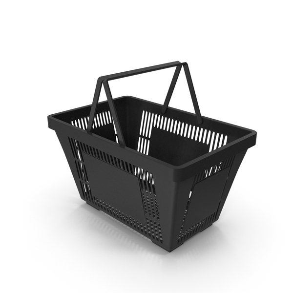 Black Shopping Basket with Plastic Handles PNG & PSD Images