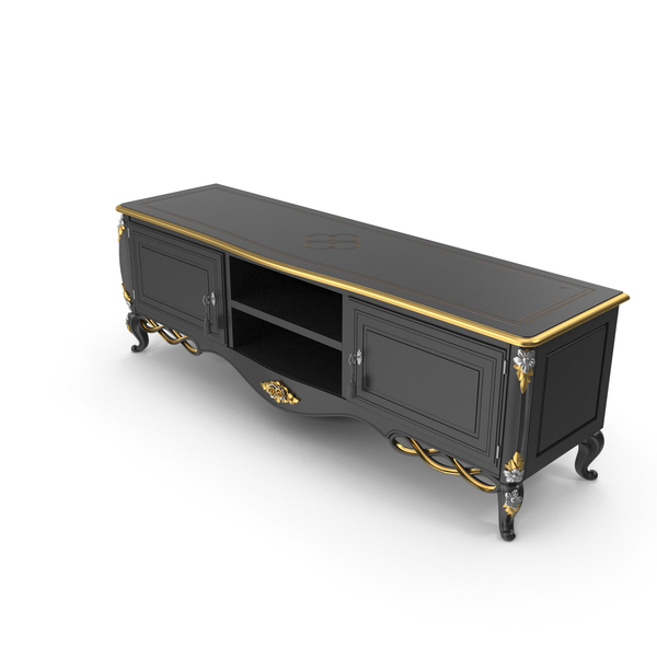 Stand: Black Signorini Coco Forever 9512 TV Baroque Sideboard PNG & PSD Images