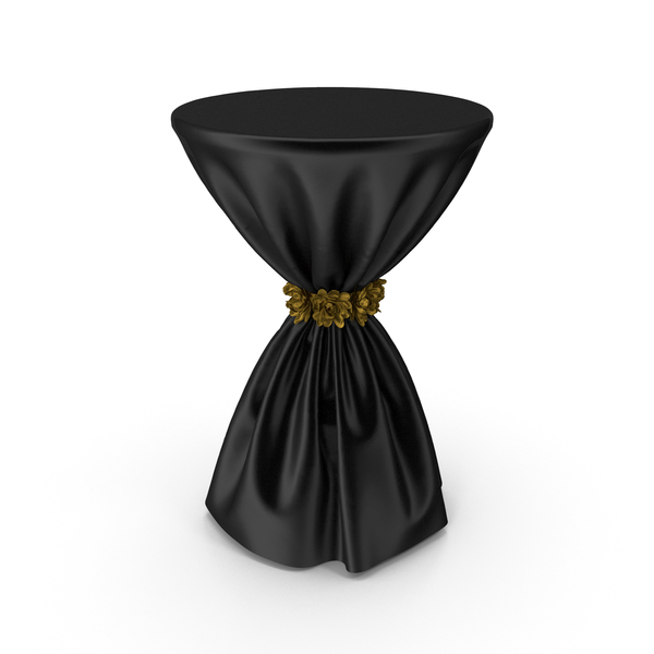 Black Silk Tablecloth Cocktail Table with Gold Flowers PNG & PSD Images