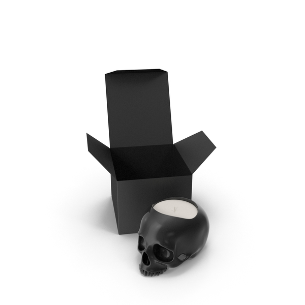Halloween Decoration: Black Skull Head Candle with Box PNG & PSD Images