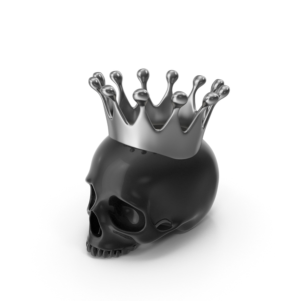 Black Skull Head Candle with Silver Crown PNG & PSD Images