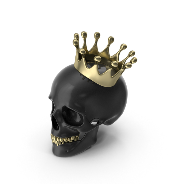 Black Skull With Gold Teeth And Crown PNG & PSD Images