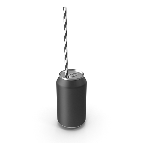 Black Soda Can with Drinking Straw PNG & PSD Images