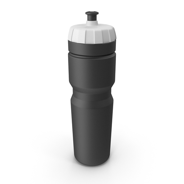 Black Sport Bottle with White Cap PNG & PSD Images