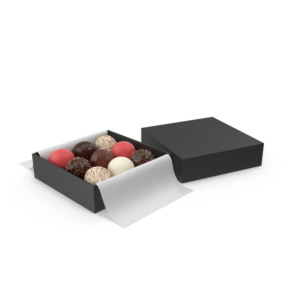 Gift: Black Square Box with Chocolates PNG & PSD Images