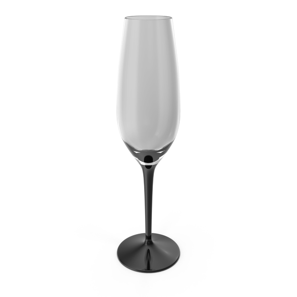 Black Stem Champagne Flute Empty PNG & PSD Images