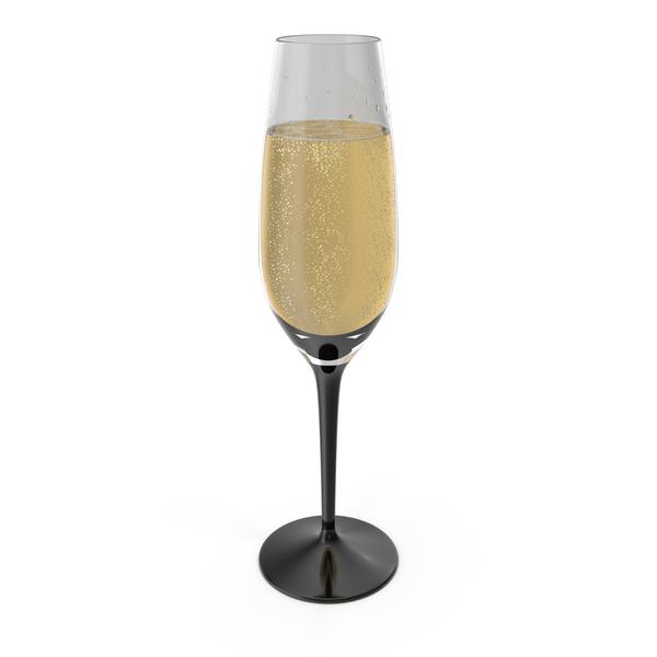 Flute: Black Stem Champagne Glass PNG & PSD Images