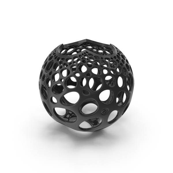 Black Stereographic Voronoi Sphere PNG & PSD Images