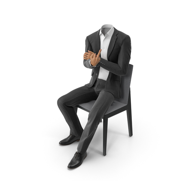 Clothing: Black Suit on Chair with Middle Finger PNG & PSD Images