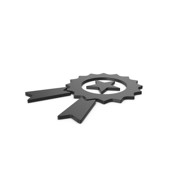 Prize Ribbon: Black Symbol Award PNG & PSD Images