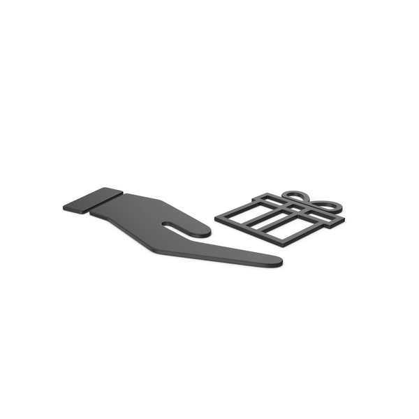 Computer Icon: Black Symbol Hand Holding Gift PNG & PSD Images