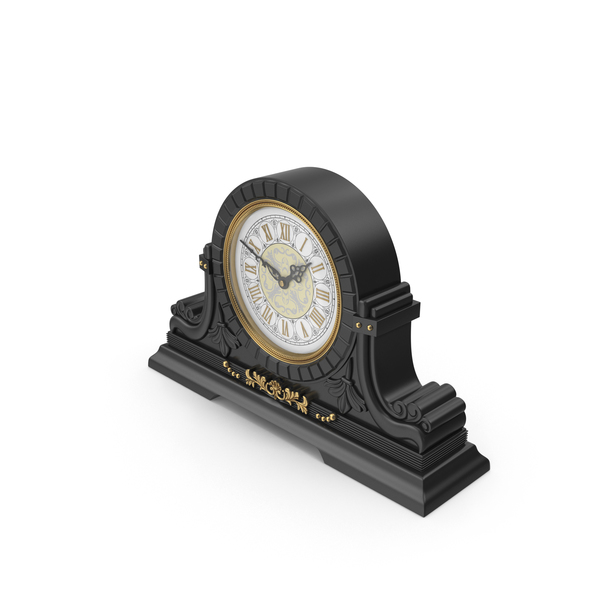 Black Table Baroque Clock PNG & PSD Images