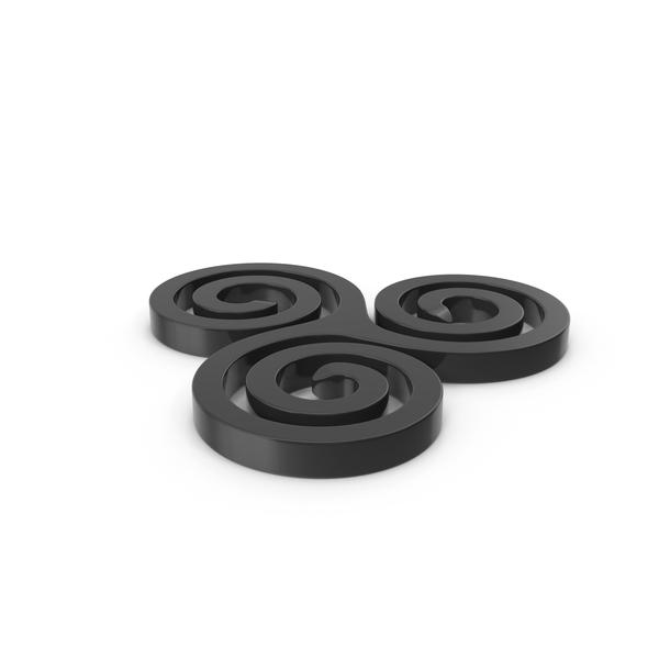 Black Triskelion Spiral Design PNG & PSD Images
