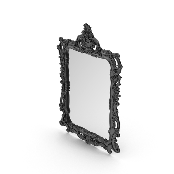 Black Wall Baroque Mirror PNG & PSD Images