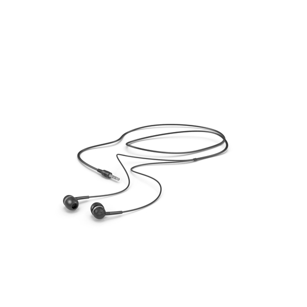 Black Wired Earphones PNG & PSD Images