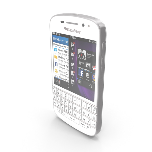 BlackBerry Q10 White PNG & PSD Images