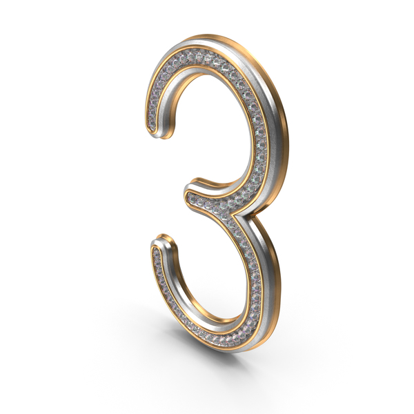 Bling Diamonds Number 3 PNG & PSD Images
