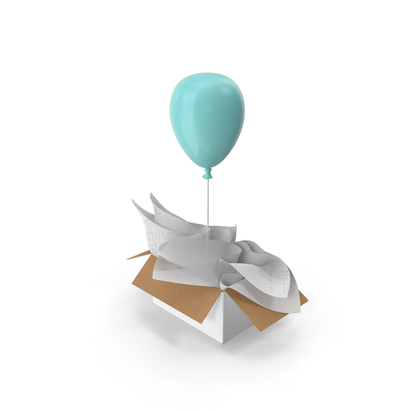 Blue Balloon Surprise Box PNG & PSD Images