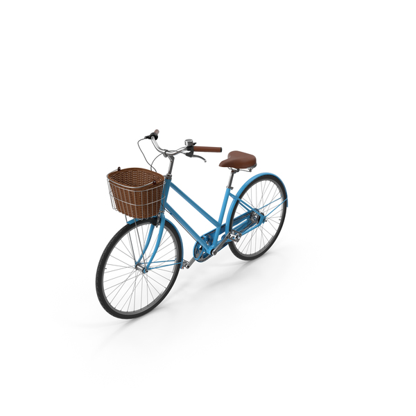 Blue Bike With Basket Object