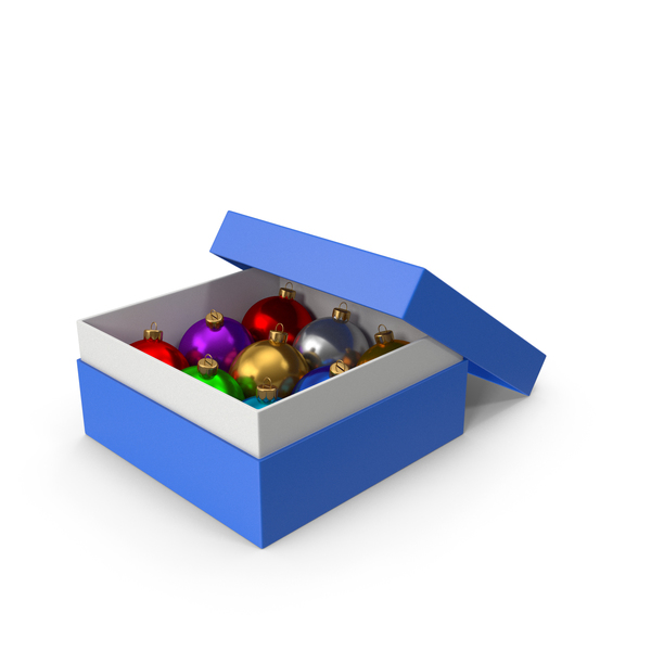 Christmas Ball: Blue Box With Ornaments PNG & PSD Images