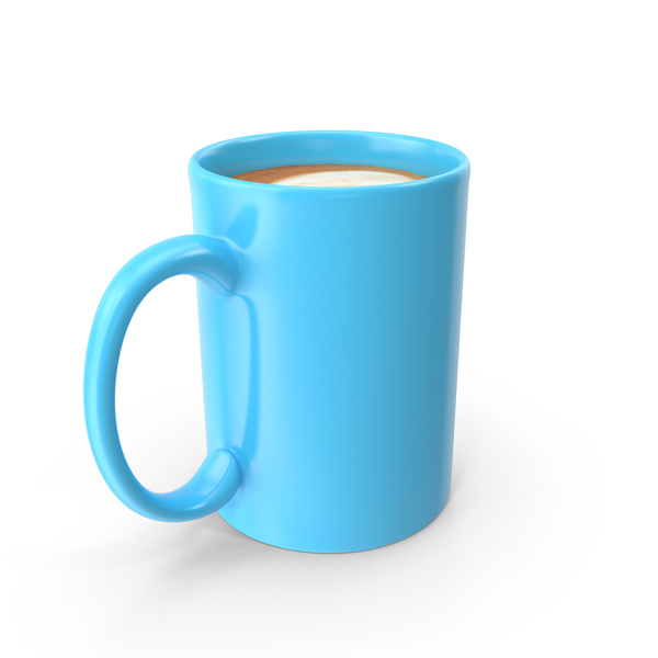 Coffee: Blue Cup With Cappuccino PNG & PSD Images
