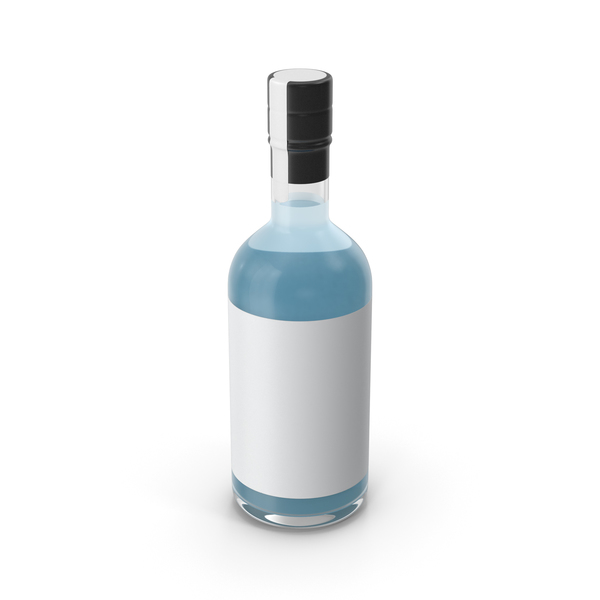 Blue Dry Gin Bottle PNG & PSD Images