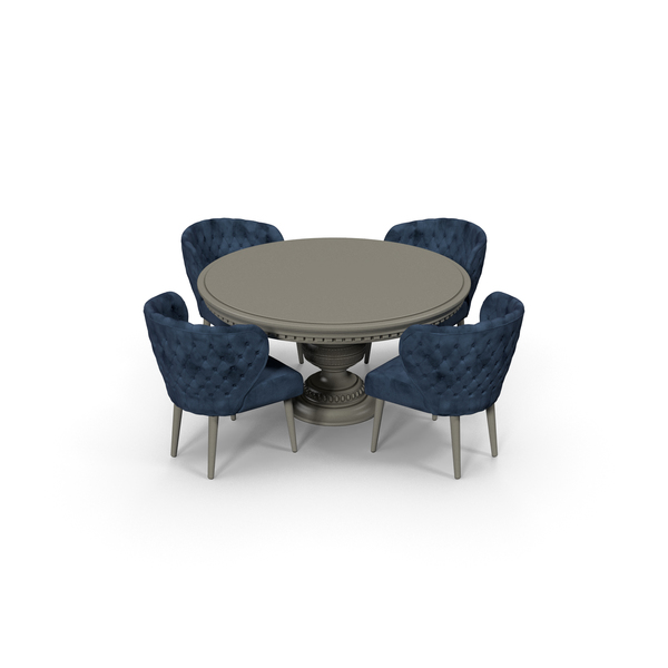 Blue Fabric Velvet Dining Table Set for 4 persons PNG & PSD Images