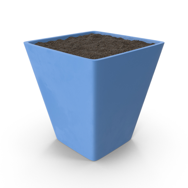 Blue Flower Pot with Soil PNG & PSD Images