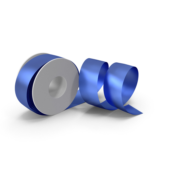 Blue Foil Ribbon Spool PNG & PSD Images