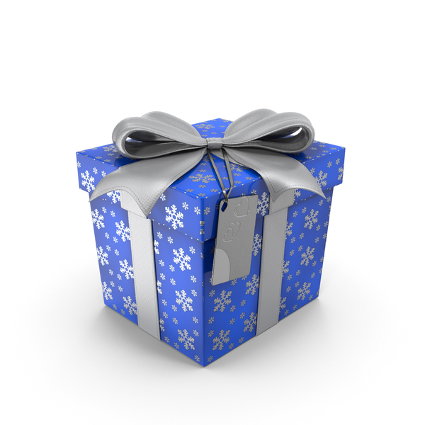 Blue Gift Box with Tag PNG & PSD Images