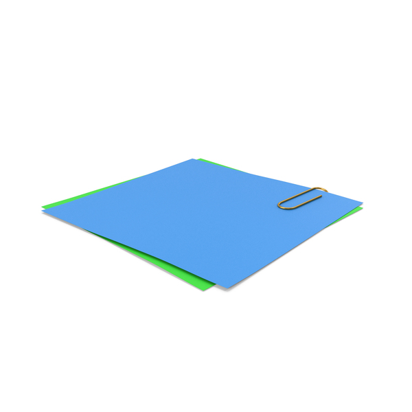 Sticky Note: Blue Green Papers With Paper Clip PNG & PSD Images