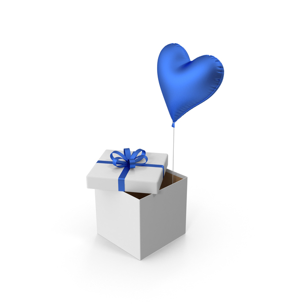 Blue Heart Balloon Gift Box PNG & PSD Images