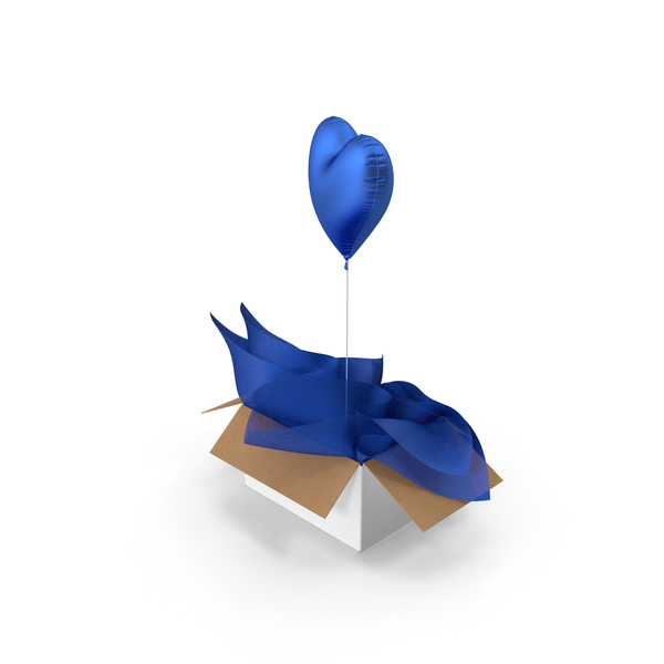 Blue Heart Balloon Surprise Box PNG & PSD Images