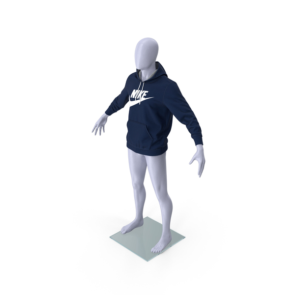 Blue Hoodie Nike Lowered Hood on Mannequin PNG & PSD Images