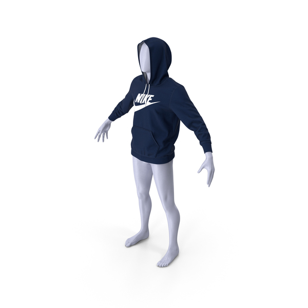 Blue Hoodie Nike Raised Hood on Mannequin PNG & PSD Images