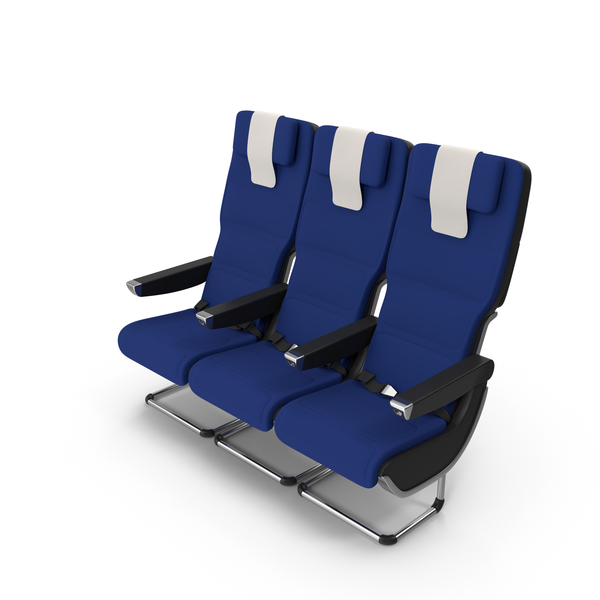Blue Qantas A380 Aircraft Economy Seat PNG & PSD Images