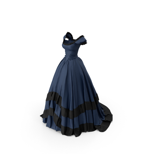 Formal: Blue Retro Gown PNG & PSD Images