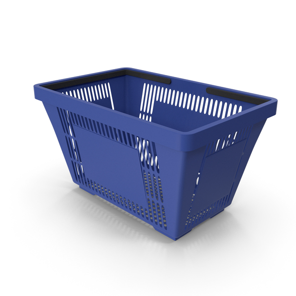 Blue Shopping Basket with Plastic Handles PNG & PSD Images