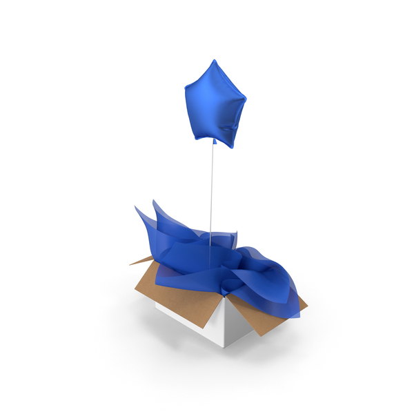 Blue Star Balloon Surprise Box PNG & PSD Images
